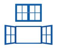 Blauw raamkozijn Stock Afbeelding