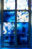 Blauw raamkozijn royalty-vrije stock foto