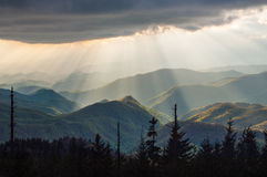 Blauw Ridge Parkway Light Rays Landscape Cherokee NC Royalty-vrije Stock Fotografie