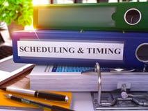 Blauw Ring Binder met Inschrijvings het Plannen en Timing 3d Stock Fotografie