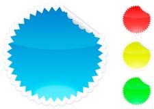 Blauw, rood, geel en de groene sticker van de schil Stock Afbeelding