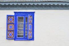 Blauw rustiek venster Royalty-vrije Stock Foto's