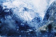 Blauw schaduwbeeld van de mens die in vallei lopen royalty-vrije illustratie