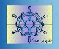 Blauw Schipstuurwiel - Marine Style Royalty-vrije Stock Foto
