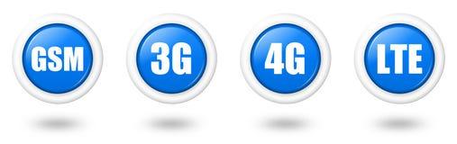 Blauw Se van het de telecommunicatiepictogram van LTE, 4G, 3G en GSM Stock Foto's