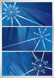 Blauw sneeuwpatroon, drie achtergronden Royalty-vrije Stock Afbeelding