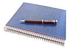Blauw spiraalvormig notitieboekje met pen Stock Foto
