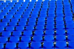 Blauw stoel Tijdelijk stadion Stock Foto