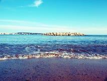 Blauw strandparadijs Stock Fotografie