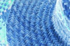Blauw Straw Hat Texture Backgrounds royalty-vrije stock afbeeldingen
