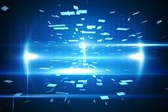 Blauw technologieontwerp met gloed Stock Afbeelding
