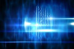 Blauw technologieontwerp met gloed Stock Afbeeldingen