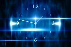 Blauw technologieontwerp met klok Stock Afbeeldingen