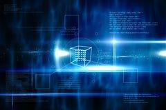 Blauw technologieontwerp met kubus Stock Afbeeldingen