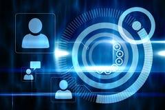 Blauw technologieontwerp met profielen Royalty-vrije Stock Afbeelding
