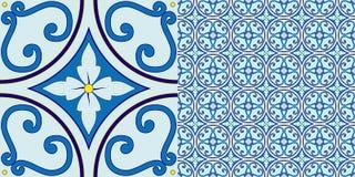 Blauw tegelpatroon Royalty-vrije Stock Foto
