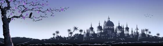 Blauw tempelpanorama vector illustratie