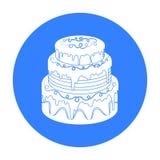 Blauw three-ply cakepictogram op geïsoleerde witte achtergrond De voorraad van het cakessymbool Royalty-vrije Stock Foto