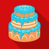 Blauw three-ply cakepictogram in vlakke stijl op witte achtergrond De voorraad vectorillustratie van het cakessymbool Royalty-vrije Stock Foto's