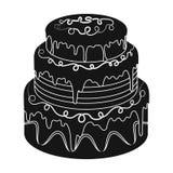 Blauw three-ply cakepictogram in zwarte die stijl op witte achtergrond wordt geïsoleerd De voorraad vectorillustratie van het cak Stock Afbeeldingen