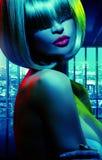 Blauw toonportret van de verleidende dame Stock Foto's