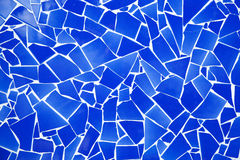 Blauw trencadis gebroken tegelsmozaïek Stock Foto