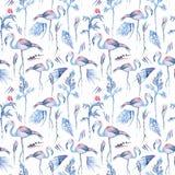 In Blauw Tropisch Waterverfpatroon stock illustratie