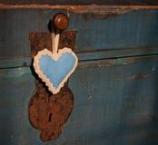 Blauw uitstekend romantisch hart Stock Afbeeldingen