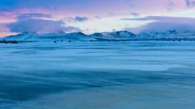 Blauw uur over Hverfjall-krater Royalty-vrije Stock Afbeeldingen