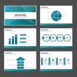 Blauw van de de Brochurevlieger van de veelhoek multifunctioneel infographic presentatie van de het pamfletwebsite het malplaatje Royalty-vrije Stock Foto