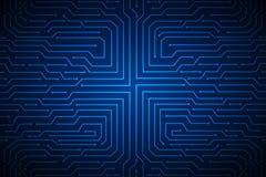Blauw van de de raadstechnologie van de lijnkring abstract vectorontwerp als achtergrond voor toekomstige computerzaken Royalty-vrije Stock Foto