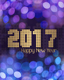 Blauw van het Glittery het Gelukkige Nieuwjaar 2017 Royalty-vrije Stock Afbeelding