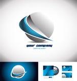 Blauw van het het pictogramontwerp van het gebied 3d embleem swoosh Stock Foto