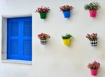 Blauw venster en kleurrijke valse bloem in de zinkvaas Royalty-vrije Stock Foto's