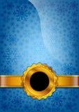 Blauw verfraaid document met abstracte sneeuwvlokken Royalty-vrije Stock Foto