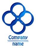 Blauw vier cirkels 3D embleem Stock Afbeeldingen