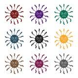 Blauw viruspictogram in zwarte die stijl op witte achtergrond wordt geïsoleerd Virussen en bacteries de vectorillustratie van de  Stock Foto