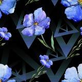 Blauw Vlas Bloemen botanische bloem Naadloos patroon als achtergrond De druktextuur van het stoffenbehang royalty-vrije stock afbeelding
