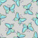 Blauw vlinders naadloos patroon op manier grijze kleur Hand getrokken vlinder vectorillustratie voor stof, het verpakken Stock Foto's