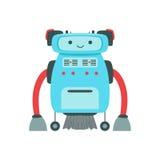 Blauw Vriendschappelijk Android-Robotkarakter met Illustratie van het Haar de Vectorbeeldverhaal Royalty-vrije Stock Foto