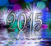 2015, blauw vuurwerk Stock Foto