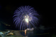 Blauw vuurwerk met landschap Royalty-vrije Stock Foto's
