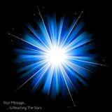 Blauw vuurwerk of zonnestraal Stock Foto's