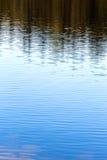 Blauw water met kleine golven en bezinning van bomen stock afbeelding