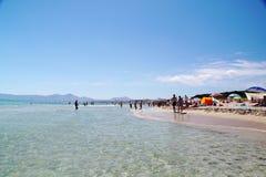 Blauw water van Middellandse Zee Fantastische mening over strand spanje Palma DE Majorca stock foto