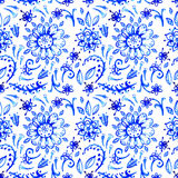 Blauw waterverfpatroon Stock Afbeelding