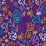 Blauw welriekend mengsel van gedroogde bloemen en kruiden bloemen naadloos patroon royalty-vrije illustratie