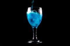 Blauw wijnglas Royalty-vrije Stock Fotografie