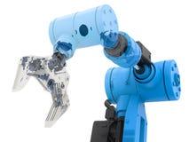 Blauw wireframe robotachtig wapen Royalty-vrije Stock Afbeeldingen