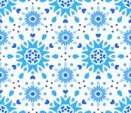 Blauw Wit Bloem en Hartenpatroon royalty-vrije illustratie